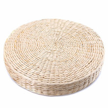 Grass Cushion Beige Mat Straw Weave Pillow Zen Round Garden Handmade Pad Outdoor Yoga 40*6cm Chair Seat Seat Cushion Dining Room(China)