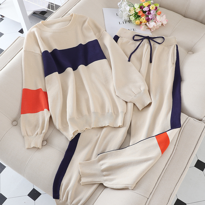 Taotrees Autumn Women Hit Color Knitted Tracksuits Long Sleeve Pullover Sweater + Side Stripe Trouser 2 Piece Set