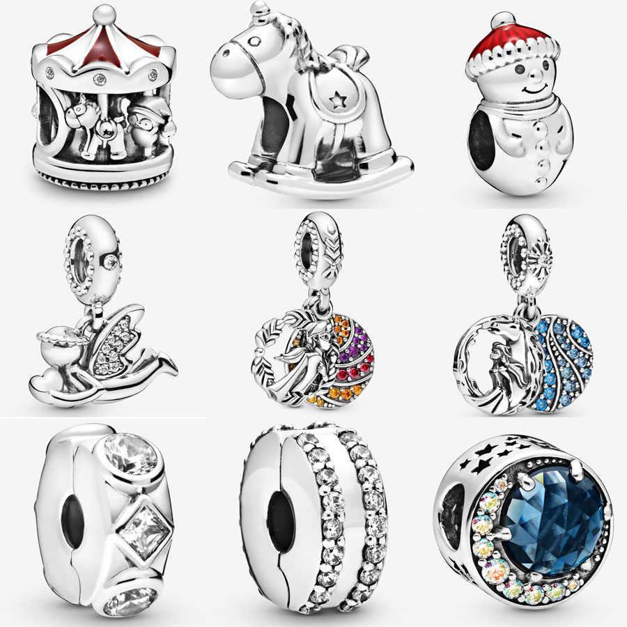 חדש חג מולד קרוסלת קסם 925 כסף חרוז Fit פנדורה צמיד מלאך של אהבה להתנדנד Unicorn סוס נדנדה קסם DIY תכשיטים