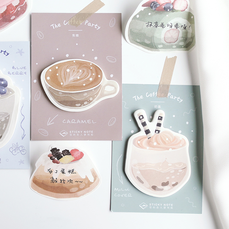 4 Pcs/Set Creative Vanilla Latte Coffee Dessert Party Sticky Note Self Adhesive Memo Pad Office School Supplies