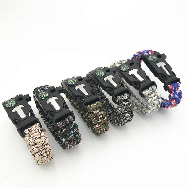 Military Emergency Paracord Bracelet Survival Parachute Bracelet No Flint Outdoor Scraper Whistle Buckle For Jewelry Men & Women