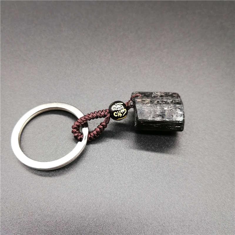 Black Tourmaline Ore  KeyChain Natural Crystal Black Tourmaline Nunatak Energy Chakra Stone  KeyChain Energy Purification