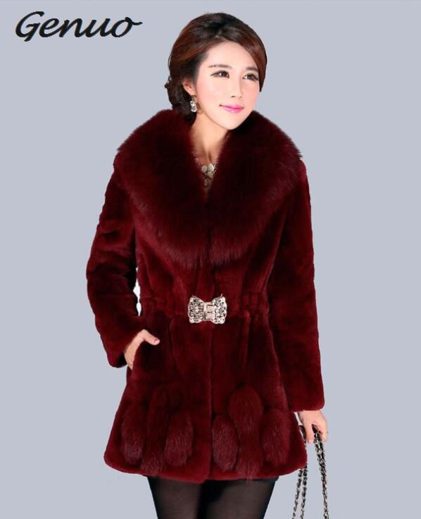 New Arrival Women Long Sleeve Solid Overcoat Elegant Turn-Down Collar Warm Coat Casual Winter Faux Fur Thick Long Outwear