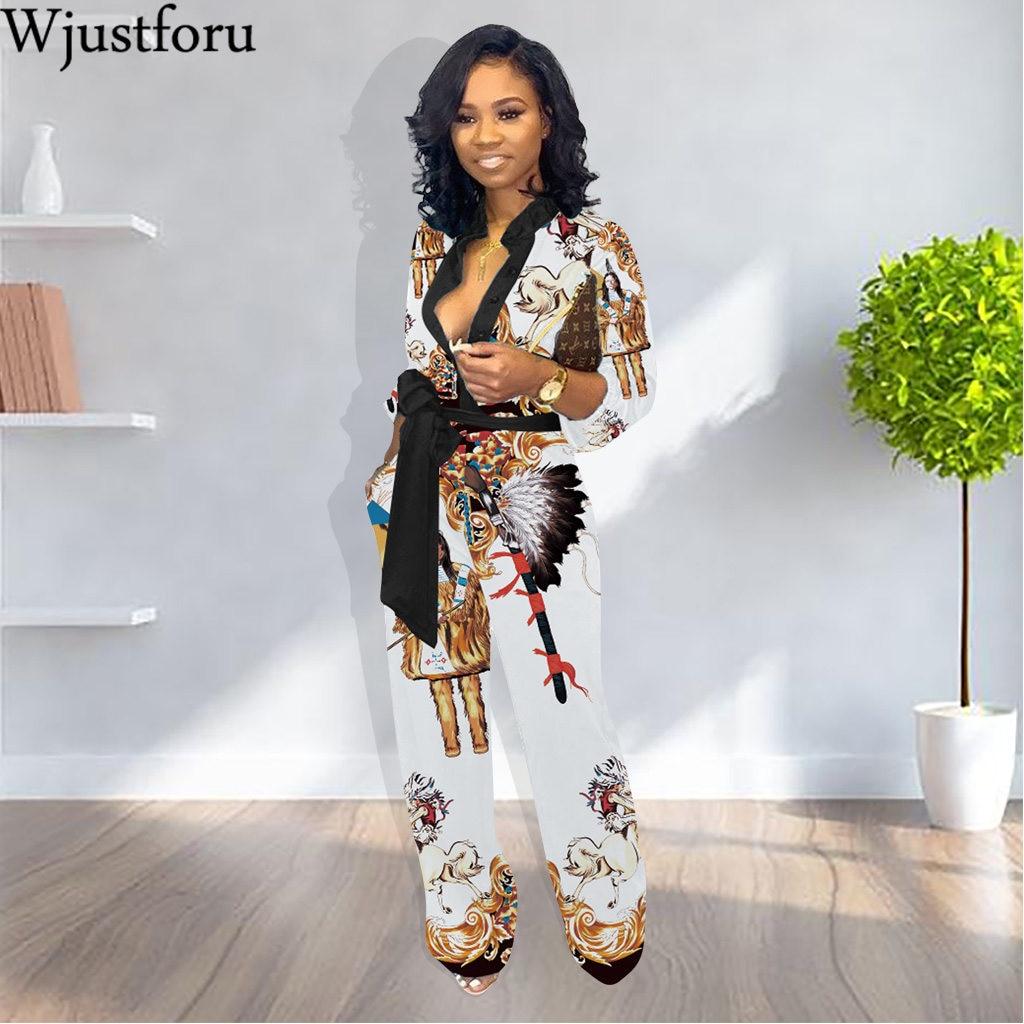 Wjustforu Chinese Style print Casual   Jumpsuit   For Women Autumn Winter Fashion Loose Bodysuit Female Elegant WIde Leg Overalls