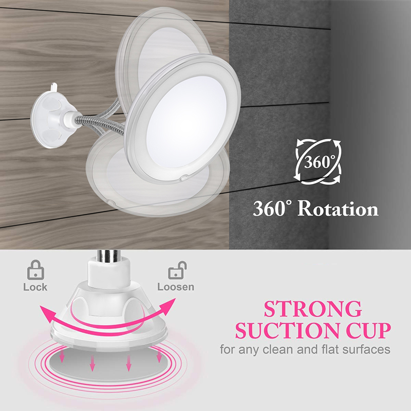 360 Degree Rotation 10X Magnifying Makeup Mirror My Flexible Mirror Folding Vanity Mirror with LED Light Makeup Tools Dropship 2