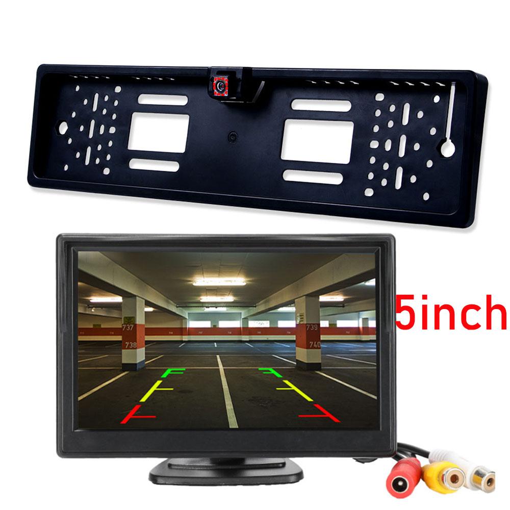 4.3 5 TFT Car Monitor Rear View Camera Waterproof EU European License Plate Frame Parktronic Reverse Night Vision Backup Camera