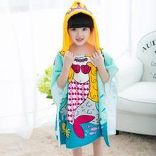 Детский пляжный плащ из полиэстера, полотенце с капюшоном и рисунком рыбы для мальчиков и девочек, банное полотенце для душа