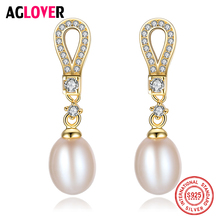 AGLOVER Hot Sale 925 Silver Gold Gilt Drop Earrings 9MM Natural Freshwater Pearl Earrings Pearl Charm Jewelry Women Gift Party