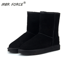 MBR FORC Classic waterproof genuine cowhide leather  snow boots Wool Women Boots Warm winter shoes for women large US 3-13