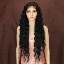 Bella perucas sintéticas onda profunda cabelo ombre marrom loira 30 Polegada peruca dianteira do laço parte média cosplay lolita perucas para a mulher 6 cores