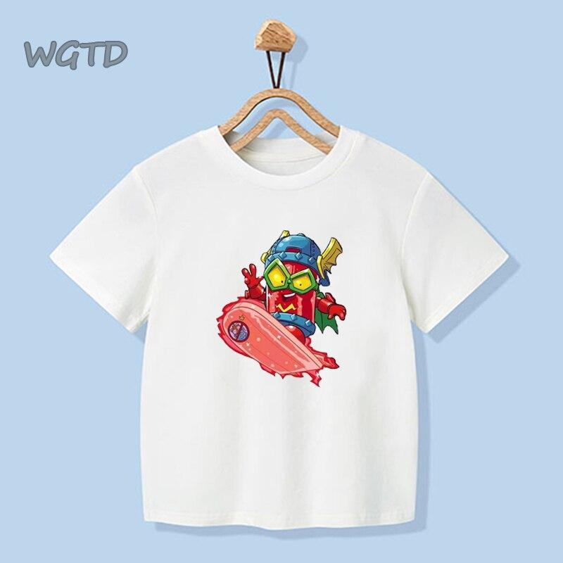 2020 novo verão bebê meninos tshirt los super zings série 6 impressão dibujos de superzings crianças camisetas de algodão roupas da menina