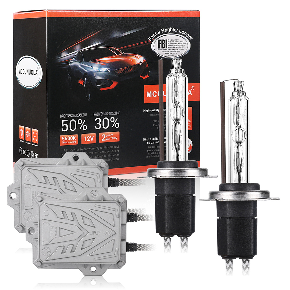 Xenon H7 AC 55W Slim Ballast Kit HID Xenon Headlight Bulb 12V H1 H3 H11 H7 Xenon Hid Kit 4300k 6000k 8000K Replace Halogen Lamp