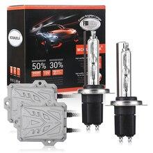 цена на Xenon H7 AC 55W Slim Ballast kit HID Xenon Headlight bulb 12V H1 H3 H11 h7 xenon hid kit 4300k 6000k 8000K Replace Halogen Lamp