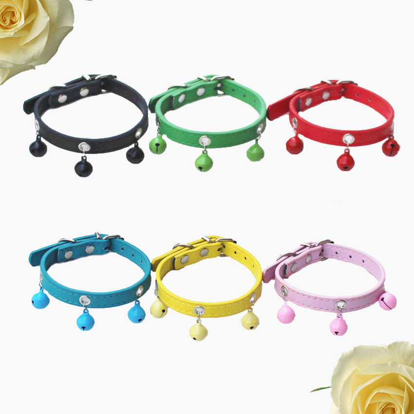 Pet Bell Neck Ring High Quality PU Leather Baking Varnish Bell Fashion Candy Color Bite-proof Protector Dogs And Cats Hand Holdi