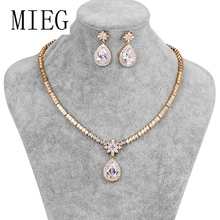 MIEG Brand Gold Color Large Pear Drop Cubic Zirconia Necklace & Earring Wedding Jewelry Set for Bride or Bridesmaid cwwzircons long water drop cubic zirconia stone big vintage royal wedding necklace and earring jewelry set for brides t205