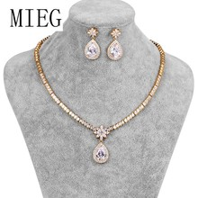 MIEG Brand Gold / Silver Colors Large Pear Drop Cubic Zirconia Necklace & Earring Wedding Jewelry Set for Bride or Bridesmaid(China)