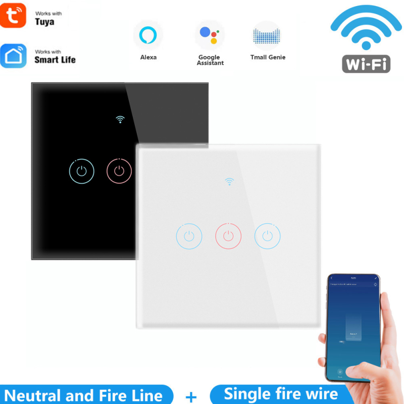 1 2 3 Gang Tuya Wifi Smart Touch Switch 110 250v Smart Life Wall Button Smart Light Switch For Alexa And Google Home Assistant Big Discount 4c396 Cicig
