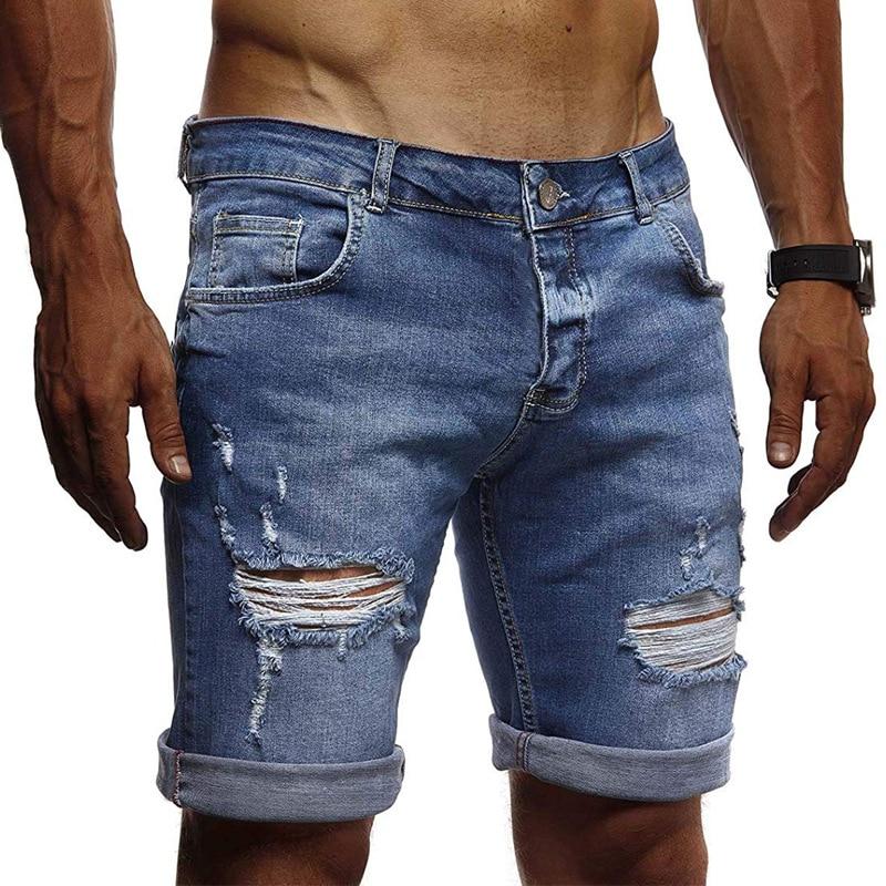 Men's New Casual Fashion Ripped Light Blue Denim Shorts Slim Summer Trousers