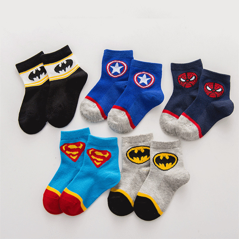 Children Non Slip Soft Socks Leg warmer Hero hose Superman Spider Unisex New Born Baby Summer Leg Warmers Infant Clothing in Socks from Mother Kids