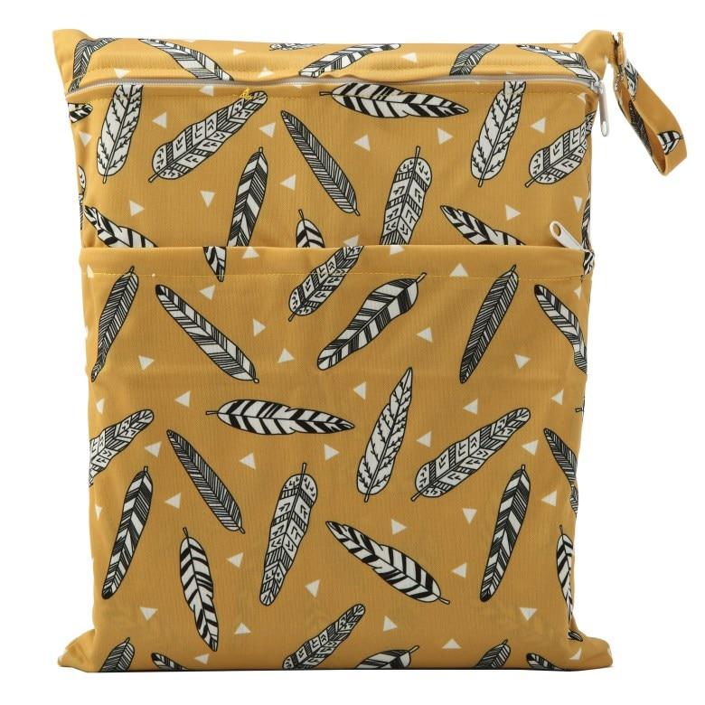 [Sigzagor] 1 Влажная сухая сумка с двумя молниями для детских подгузников, водонепроницаемая сумка для подгузников, розничная и, 36 см x 29 см, на выбор 1000 - Цвет: WH12