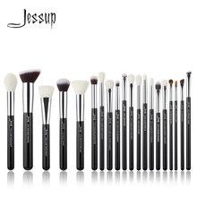 Jessup Juego de brochas de maquillaje profesionales, para base y polvos, pelo sintético natural, color negro y plateado