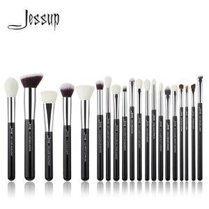 Image 1 - Jessup siyah/gümüş profesyonel makyaj fırça seti makyaj fırça araçları seti vakfı pudra fırçalar doğal sentetik saç