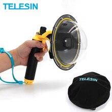 TELESIN Dome Port kapak Lens konut Case yüzen kolu kavrama Bobber GoPro Hero 5 için 6 kahraman 7 eylem kamera aksesuarları