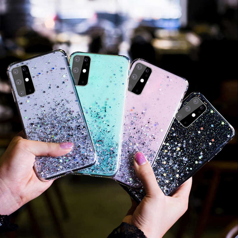 Mewah Bintang Glitter Case untuk Samsung Galaxy S20 A51 A71 A81 A91 A70 A50 A20 A30 A20E A750 Catatan 10 9 8 S10 S9 S8 S10 Lite Cover