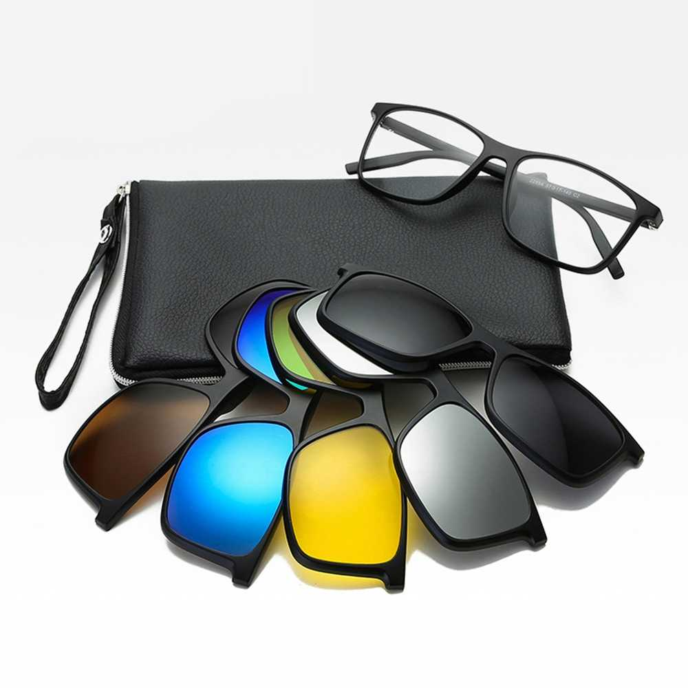Belmon 6 In 1 Spectacle Frame Men Women With 5 PCS Clip On Polarized  Sunglasses Magnetic Glasses Male Computer Optical 2299A Men's Eyewear  Frames  - AliExpress