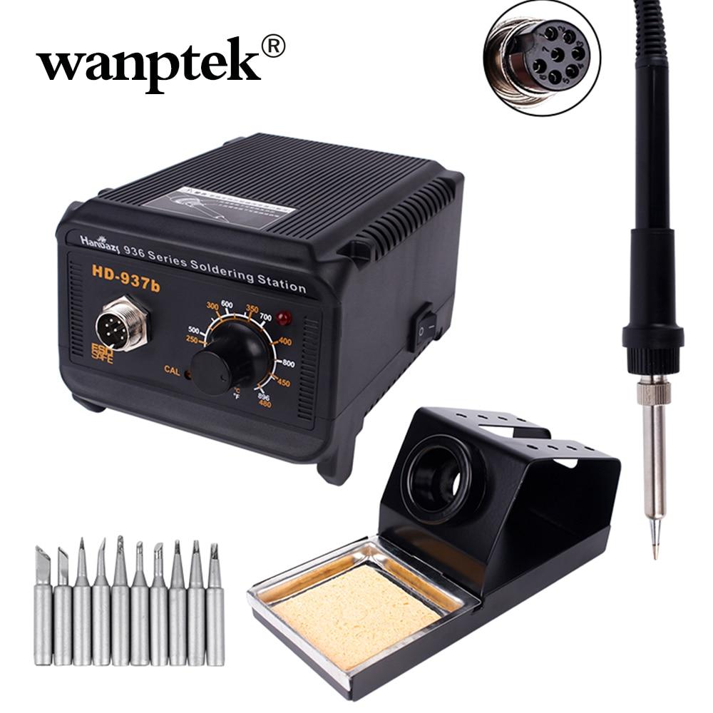 Wanptek Soldering Iron Station 10PCS Tips Adjustable Temperature Digital Electric Controller Aluminum Alloy Kits Welding Tools