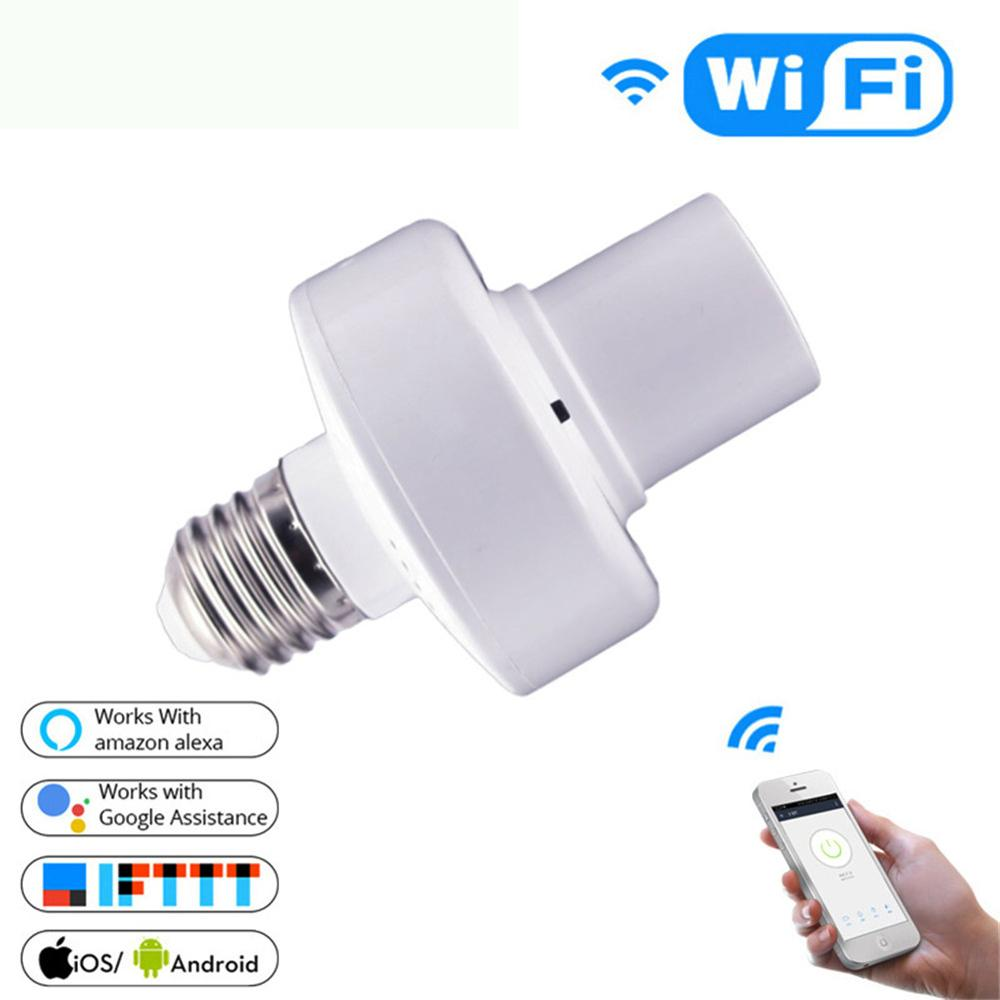 WiFi Smart E27 Light Bulb Adapter Lamp Holder Base AC 85-250V Wireless Voice Control With Alexa Google Home IFTTT