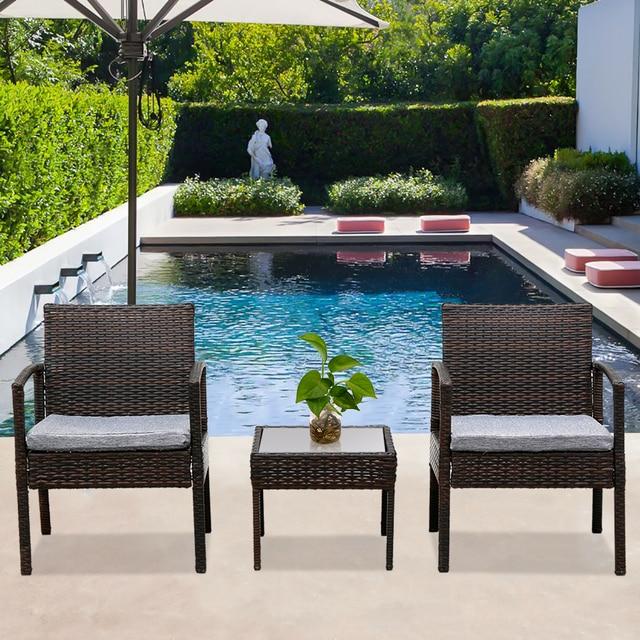 3PC Patio Furniture Wicker Rattan Outdoor Conversation Set  3