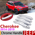 Хромированная Крышка для наружных дверей Jeep Cherokee KL 2014 ~ 2019  автомобильные аксессуары  наклейки  набор отделки для 4 дверей 2015 2016 2017 2018