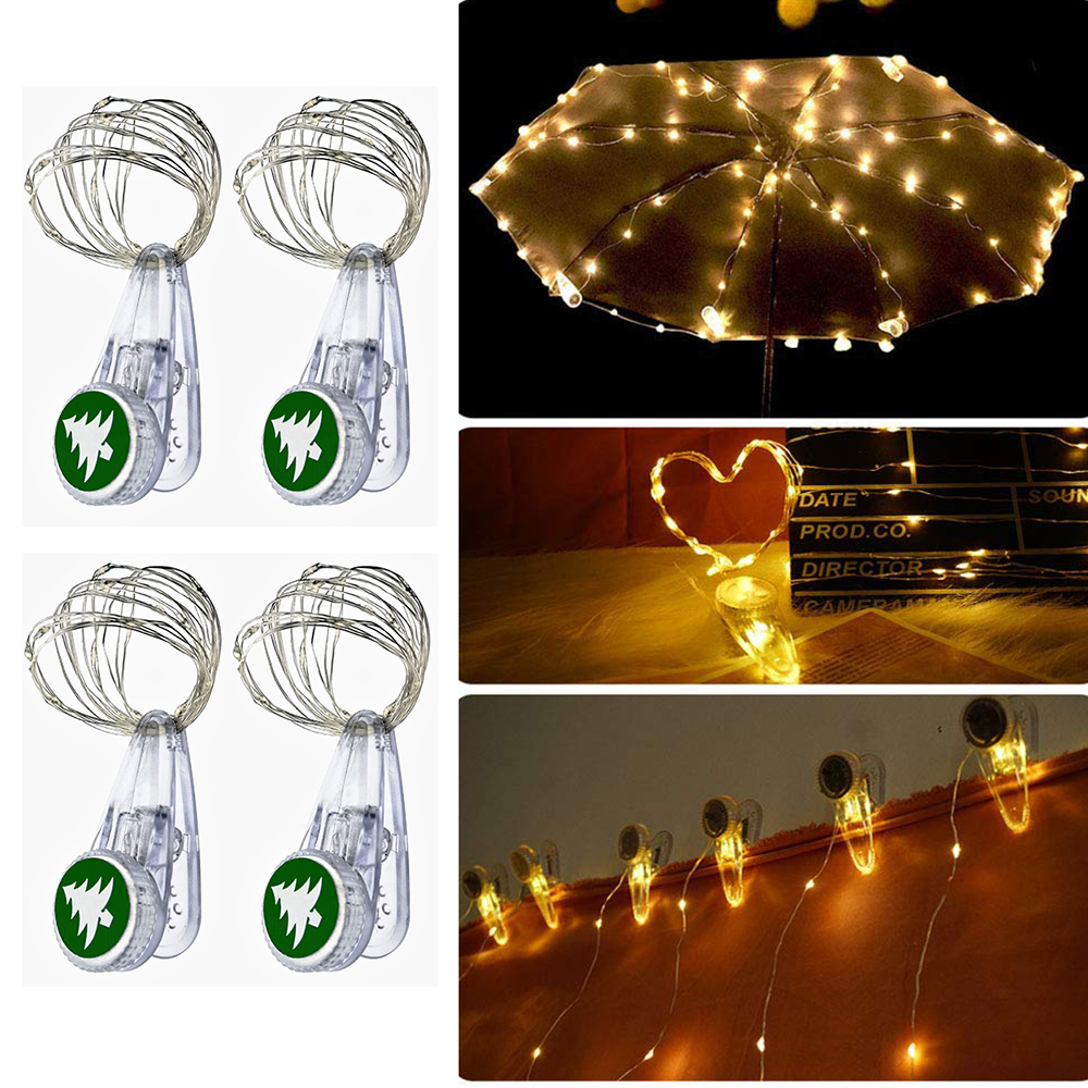 1M 2M Card Photo Clip Holder Fairy Garland Lamp Copper Wire LED String Lights For Christmas New Year Wedding Party Decoration
