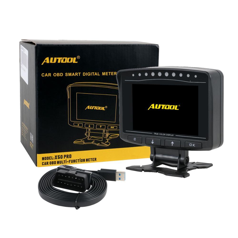 AUTOOL X50 Pro Auto Kopf-Up Computer HUD OBD2 II Fehler Erkennung Kraftstoff Druck Display Speedmeter Voltmeter Temperatur Alarm