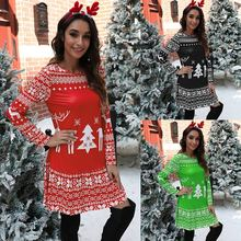 Платье женское рождественское с длинным рукавом Осень зима 2020