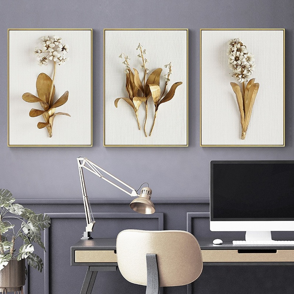 Nordic sheet gold leaf and flower spray painting hanging painting oil painting decorative painting wall pictures for living room