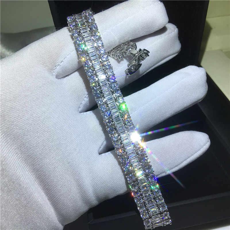 高級トレンディ lab ダイヤモンドのブレスレットバングル 925 スターリングシルバービジューパーティー結婚式ブレスレット女性男性婚約ジュエリー