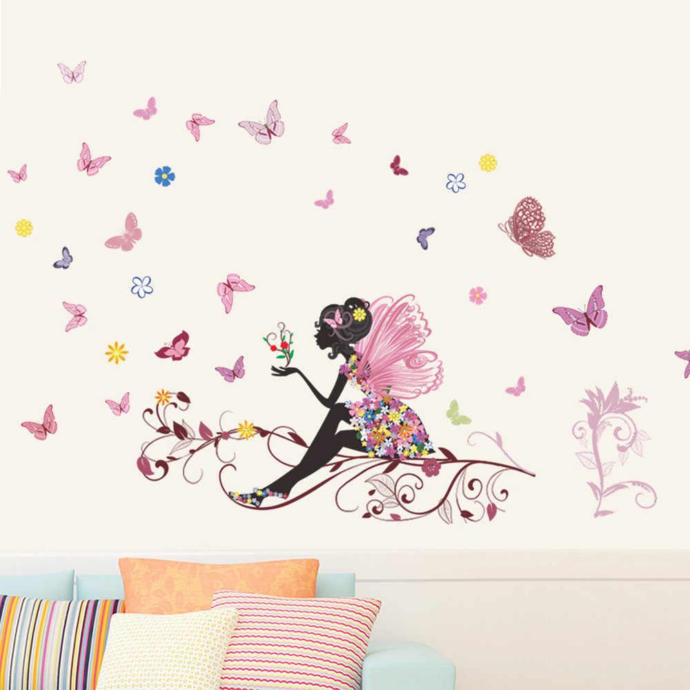 زهرة الجنية الجدار ملصق للأطفال غرف زهرة فراشة الجنية فتاة ركوب جدار الفن ملصق مائي ديكور المنزل جدارية @ A