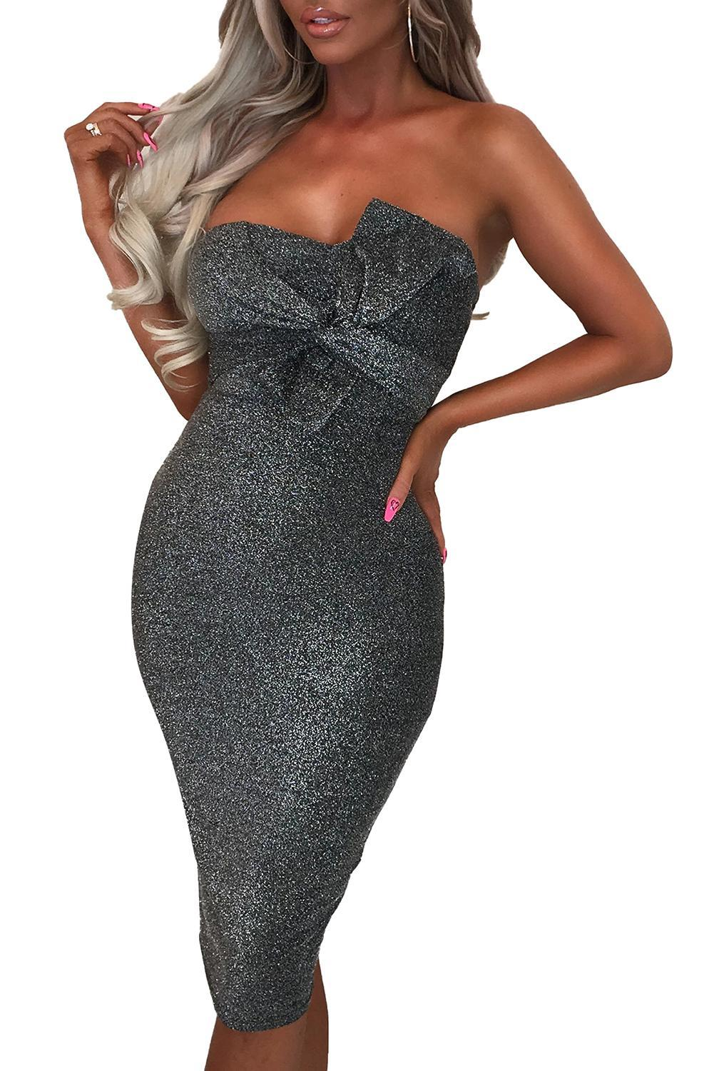 <font><b>Blue</b></font>/Gray/<font><b>Pink</b></font> Luxe Glam Knot Front Bandeau Midi <font><b>Dress</b></font> <font><b>Women</b></font> <font><b>Sexy</b></font> Strapless Off Shoulder Sparkly Fabric Party Club <font><b>Dresses</b></font> S-XL image