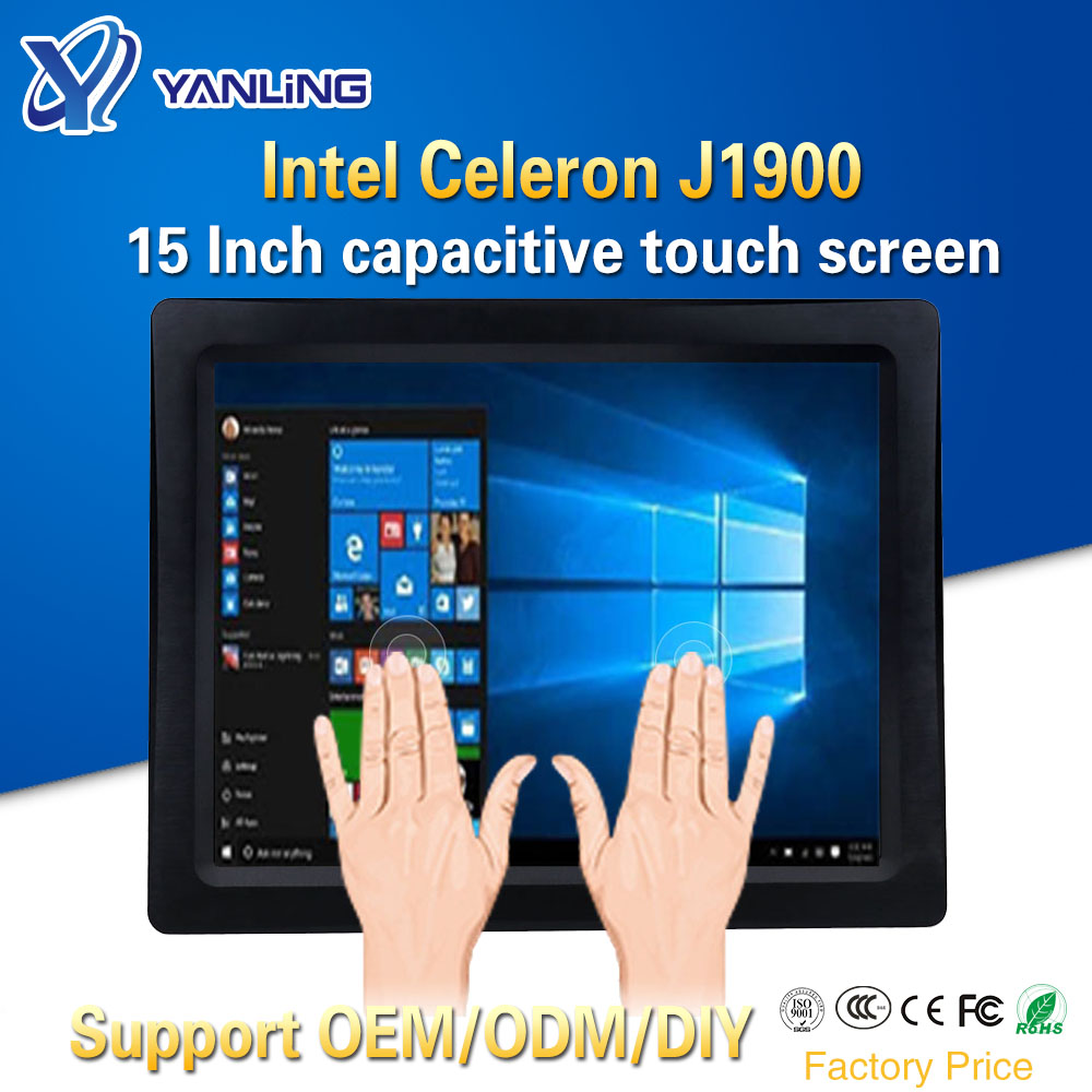 Yanling Intel J1900 CPU 15 Inch Industrial Fanless All In One Panel PC Multi Points Touch Capacitive Screen Tablet Computers