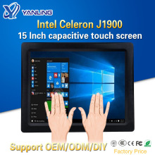 Yanling Intel J1900 CPU 15 Inch Industrial Fanless All In One Panel PC Multi Points Touch Capacitive