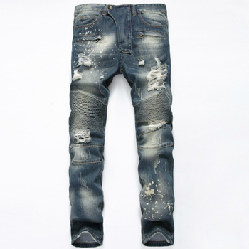 Men's Jeans Retro Nostalgia Embroidered Hole Motorcycle Slim Stretch Pants Moto & Biker Full Length Skinny Jeans Distressed