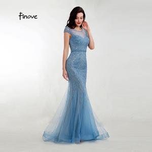 Image 3 - Akşam elbise zarif Mermaid 2020 gölgeli mavi Sparkly malzeme O boyun kap kollu tam boncuklu resmi kadın elbise Finove