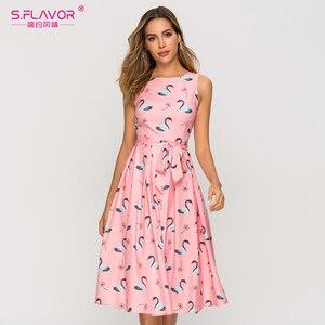 Image 1 - S. Lezzet yaz moda kolsuz kadın elbise Vintage tarzı pilili A line Vestidos De kadın kadın Retro Midi elbiseler