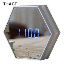 מראה שעונים מעורר LED מראה לילה אור דיגיטלי שעון מעורר טעינה מדחום שולחן עבודה שעון בית משרד דקור