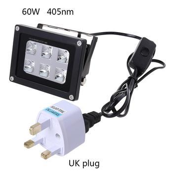 US/UK/EU/AU Plug 100-260V 60W 405nm 6 UV LED Resin Curing Light Lamp for SLA DLP 3D Printer Photosensitive Accessories