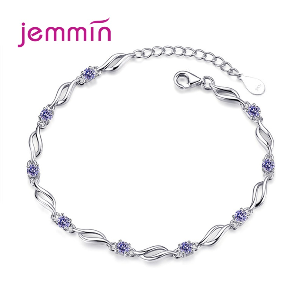 New Stunning Crystal 925 Sterling Silver Infinity Love Zircon Necklace Chain