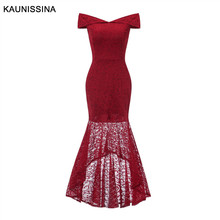 KAUNISSINA Mermaid Cocktail Dresses Elegant Lace Slim Off Shoulder Sexy Party Gown Solid Banquet Prom Dresses