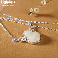 Uglyless Flying Gourd Pendants for Women Real 925 Sterling Silver Necklaces + Chains Natural Jade Fine Jewelry Gemstones P731